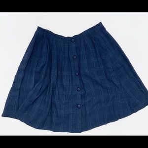 ANTHROPOLOGIE cotton navy skirt. Size 12